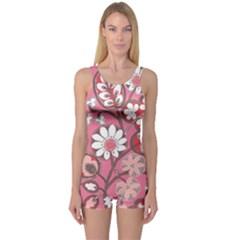 Pink Flower Pattern One Piece Boyleg Swimsuit