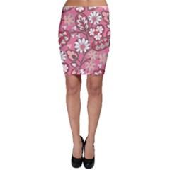 Pink Flower Pattern Bodycon Skirt