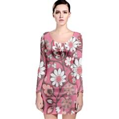 Pink Flower Pattern Long Sleeve Bodycon Dress