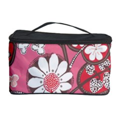 Pink Flower Pattern Cosmetic Storage Case
