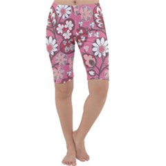 Pink Flower Pattern Cropped Leggings