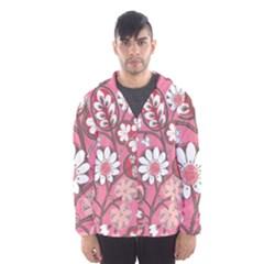 Pink Flower Pattern Hooded Wind Breaker (men)