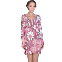 Pink Flower Pattern Long Sleeve Nightdress