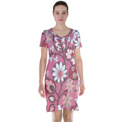 Pink Flower Pattern Short Sleeve Nightdress