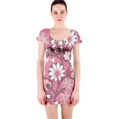 Pink Flower Pattern Short Sleeve Bodycon Dress