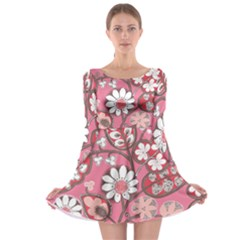 Pink Flower Pattern Long Sleeve Skater Dress
