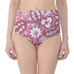 Pink Flower Pattern High Waist Bikini Bottoms