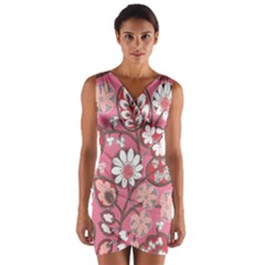 Pink Flower Pattern Wrap Front Bodycon Dress