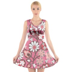 Pink Flower Pattern V Neck Sleeveless Skater Dress