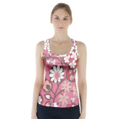 Pink Flower Pattern Racer Back Sports Top