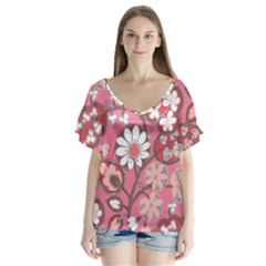 Pink Flower Pattern Flutter Sleeve Top
