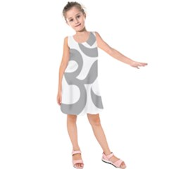 Hindu Om Symbol (Light Gray) Kids  Sleeveless Dress