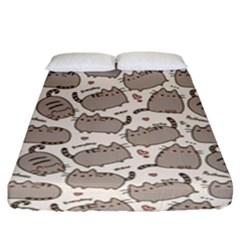 Pusheen Wallpaper Computer Everyday Cute Pusheen Fitted Sheet (king Size)