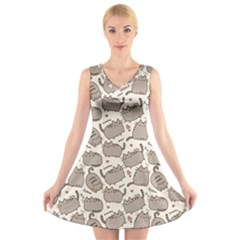 Pusheen Wallpaper Computer Everyday Cute Pusheen V Neck Sleeveless Skater Dress