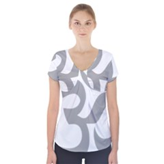 Hindu Om Symbol (Light Gray) Short Sleeve Front Detail Top