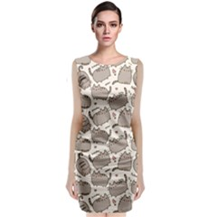 Pusheen Wallpaper Computer Everyday Cute Pusheen Classic Sleeveless Midi Dress