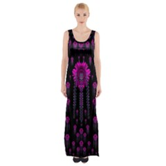 Wonderful Jungle Flowers In The Dark Maxi Thigh Split Dress