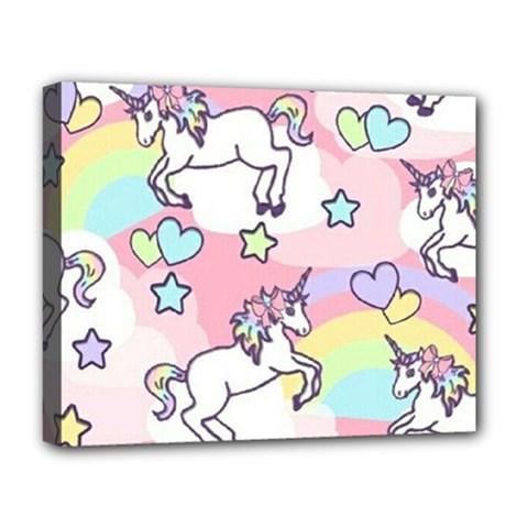 Unicorn Rainbow Deluxe Canvas 20  x 16