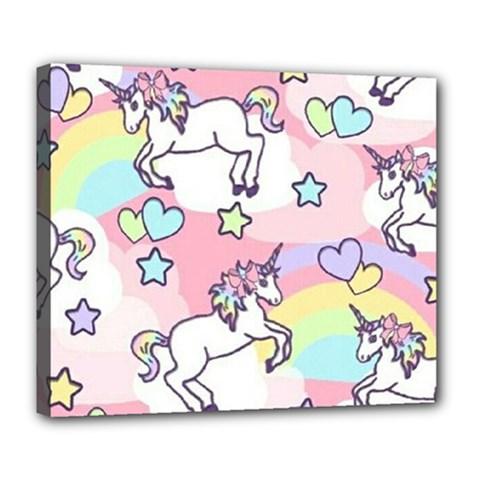 Unicorn Rainbow Deluxe Canvas 24  x 20