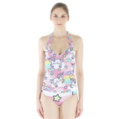 Unicorn Rainbow Halter Swimsuit