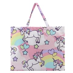 Unicorn Rainbow Zipper Large Tote Bag