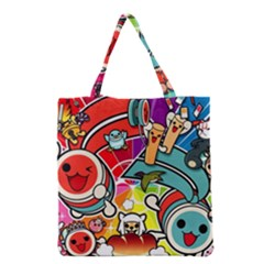 Cute Doodles Wallpaper Background Grocery Tote Bag