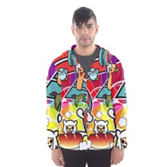 Cute Doodles Wallpaper Background Hooded Wind Breaker (men)
