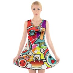 Cute Doodles Wallpaper Background V Neck Sleeveless Skater Dress