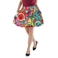 Cute Doodles Wallpaper Background A Line Pocket Skirt