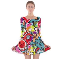 Cute Doodles Wallpaper Background Long Sleeve Velvet Skater Dress