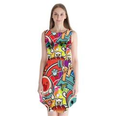 Cute Doodles Wallpaper Background Sleeveless Chiffon Dress