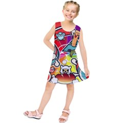 Cute Doodles Wallpaper Background Kids  Tunic Dress