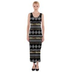 Kawaii Pattern Fitted Maxi Dress