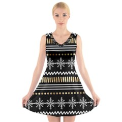 Kawaii Pattern V Neck Sleeveless Skater Dress