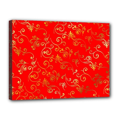 Golden Swrils Pattern Background Canvas 16  x 12