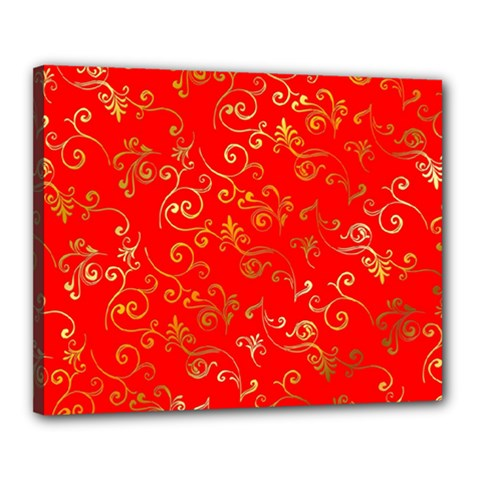 Golden Swrils Pattern Background Canvas 20  X 16