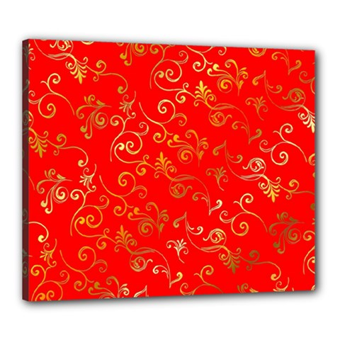Golden Swrils Pattern Background Canvas 24  x 20