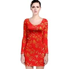 Golden Swrils Pattern Background Long Sleeve Velvet Bodycon Dress