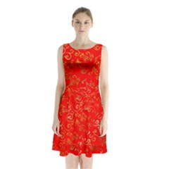 Golden Swrils Pattern Background Sleeveless Waist Tie Chiffon Dress