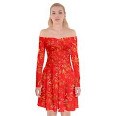 Golden Swrils Pattern Background Off Shoulder Skater Dress