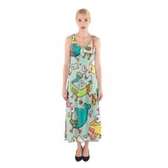 Summer Up Pattern Sleeveless Maxi Dress