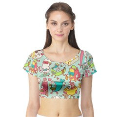 Summer Up Pattern Short Sleeve Crop Top (tight Fit)