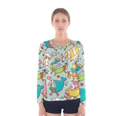Summer Up Pattern Women s Long Sleeve Tee