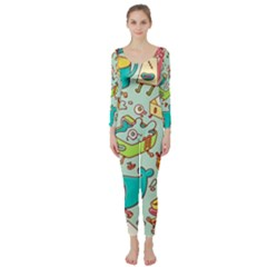 Summer Up Pattern Long Sleeve Catsuit