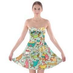 Summer Up Pattern Strapless Bra Top Dress