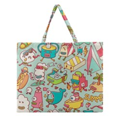 Summer Up Pattern Zipper Large Tote Bag