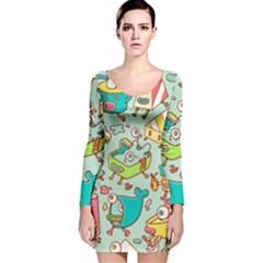 Summer Up Pattern Long Sleeve Velvet Bodycon Dress