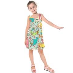 Summer Up Pattern Kids  Sleeveless Dress