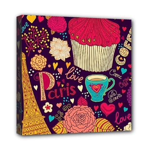 Cute Colorful Doodles Colorful Cute Doodle Paris Mini Canvas 8  x 8