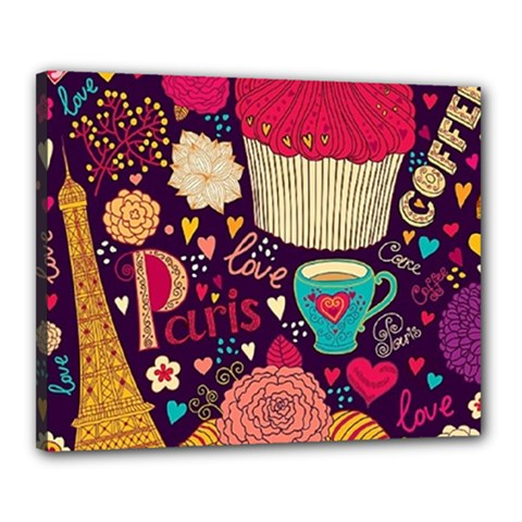 Cute Colorful Doodles Colorful Cute Doodle Paris Canvas 20  X 16